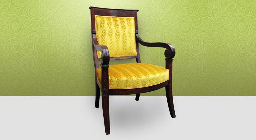 Fauteuil restauration charivari et compagnie tapissier - Restauration fauteuil voltaire ...
